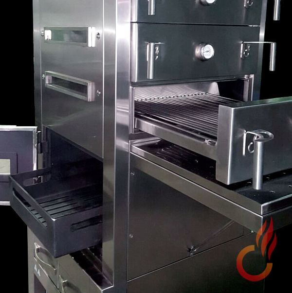 Ember oven with drawers. Charcoal grills